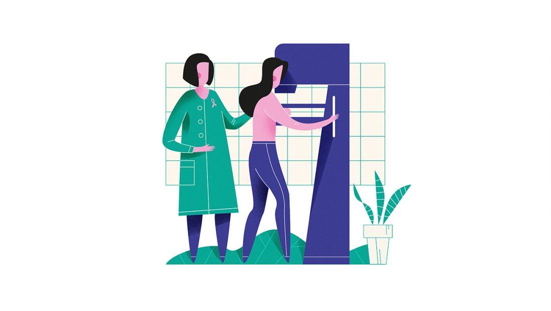 Kuvassa potilaalle tehdään mammografia.